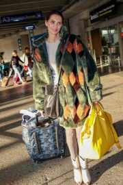 Frederique Bel in Multi Color Long Coat at Nice Airport in Nice 2019/05/12 6