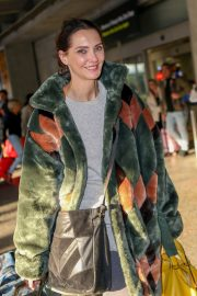 Frederique Bel in Multi Color Long Coat at Nice Airport in Nice 2019/05/12 7