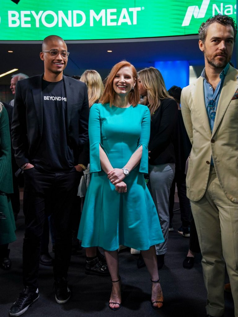 Jessica Chastain with Beyond Meat CEO Ethan Brown at Nasdaq MarketSite in New York City 2019/05/02 5