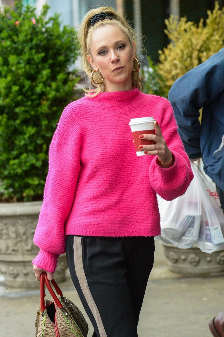 Juno Temple wearing Bright Pink Sweater in New York 2019/04/29 18