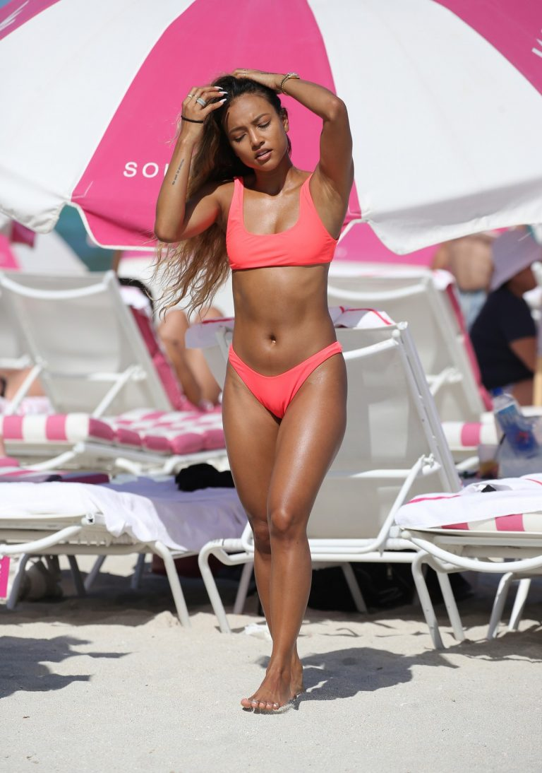 Karrueche Tran in Neon Pink Bikini on the Miami Beach 2019/05/11 27