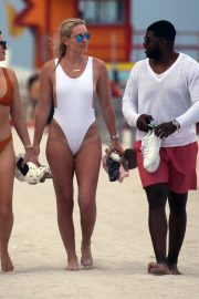 Lindsey Vonn in White One Piece Swimsuit on the Beach in Miami 2019/05/04 11