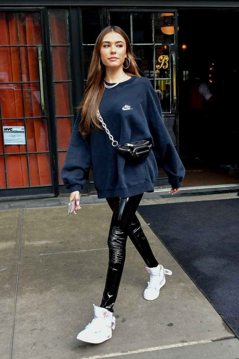 Madison Beer in Sweatshirt and Black Leather Pant of Hotel in New York 2019/05/10 6