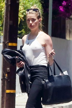 Amber Heard in White Tank Top and Black Jeans on a Sunday Afternoon 2019/06/09 1