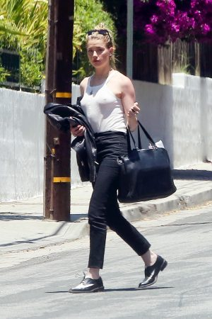Amber Heard in White Tank Top and Black Jeans on a Sunday Afternoon 2019/06/09 2