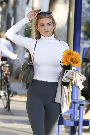 AnnaLynne McCord in Braless High Neck White Top and Tights Out in Los Angeles 2019/06/20 2
