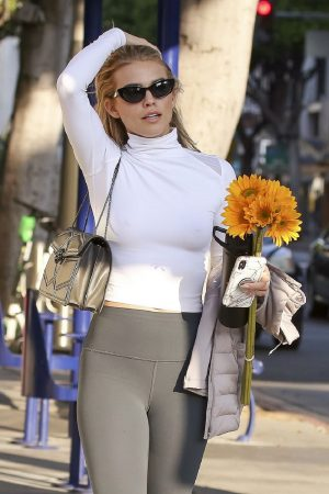 AnnaLynne McCord in Braless High Neck White Top and Tights Out in Los Angeles 2019/06/20 7