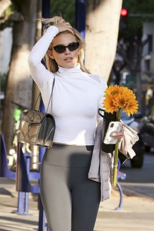 AnnaLynne McCord in Braless High Neck White Top and Tights Out in Los Angeles 2019/06/20 13