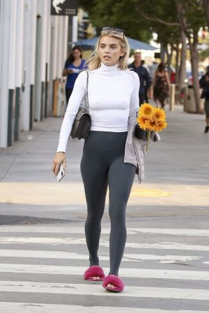 AnnaLynne McCord in Braless High Neck White Top and Tights Out in Los Angeles 2019/06/20 15