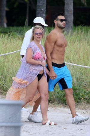 Britney Spears and Sam Asghari at Jet Ski Ride on the beach in Miami 2019/06/09 2