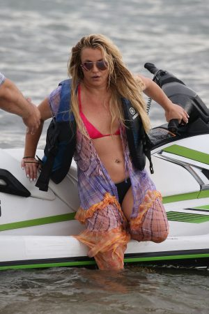 Britney Spears and Sam Asghari at Jet Ski Ride on the beach in Miami 2019/06/09 12