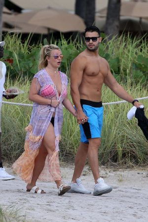 Britney Spears and Sam Asghari at Jet Ski Ride on the beach in Miami 2019/06/09 13