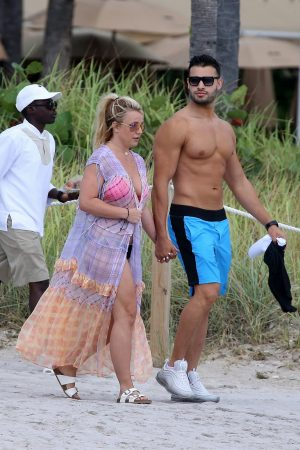 Britney Spears and Sam Asghari at Jet Ski Ride on the beach in Miami 2019/06/09 16