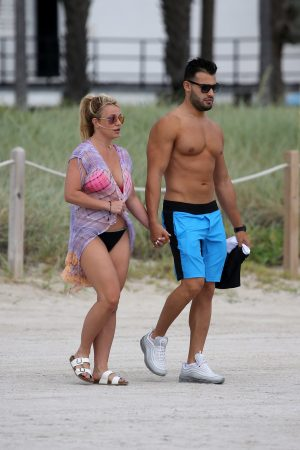 Britney Spears and Sam Asghari at Jet Ski Ride on the beach in Miami 2019/06/09 23