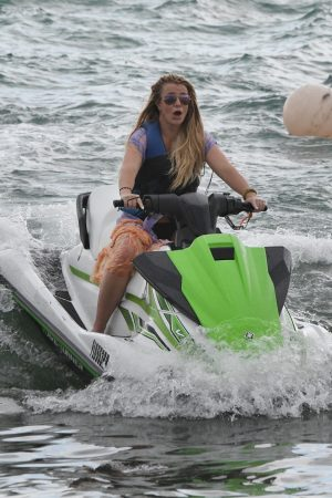 Britney Spears and Sam Asghari at Jet Ski Ride on the beach in Miami 2019/06/09 26