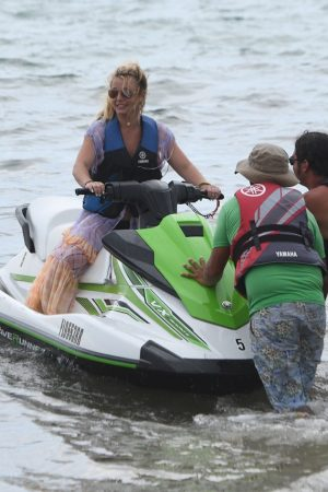 Britney Spears and Sam Asghari at Jet Ski Ride on the beach in Miami 2019/06/09 31
