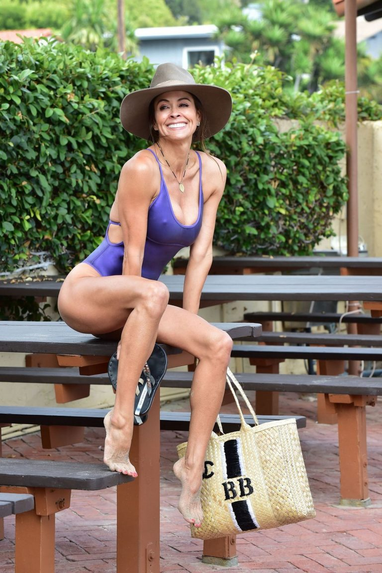 Brooke Burke in Violet Color Swimsuit at beach in Malibu 2019/06/17 3