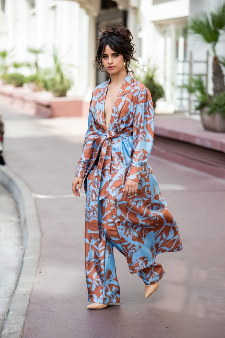 Camila Cabello in Floral Pants and Belted Coat in Cannes, France 2019/06/18 1