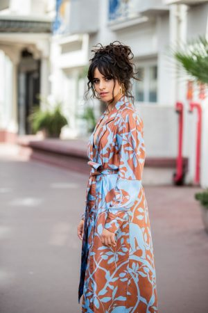 Camila Cabello in Floral Pants and Belted Coat in Cannes, France 2019/06/18 2