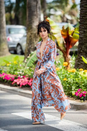 Camila Cabello in Floral Pants and Belted Coat in Cannes, France 2019/06/18 3