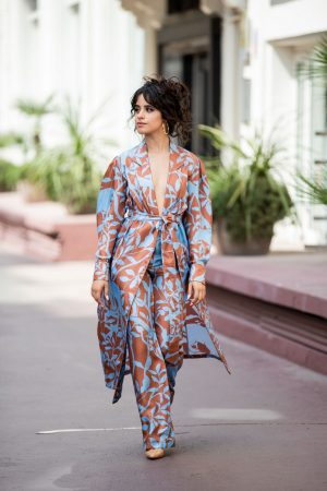 Camila Cabello in Floral Pants and Belted Coat in Cannes, France 2019/06/18 4