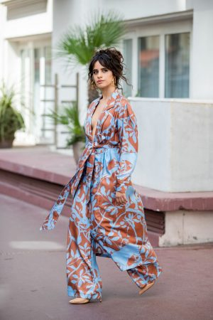 Camila Cabello in Floral Pants and Belted Coat in Cannes, France 2019/06/18 5