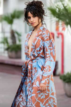 Camila Cabello in Floral Pants and Belted Coat in Cannes, France 2019/06/18 9