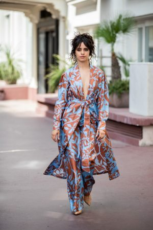 Camila Cabello in Floral Pants and Belted Coat in Cannes, France 2019/06/18 11
