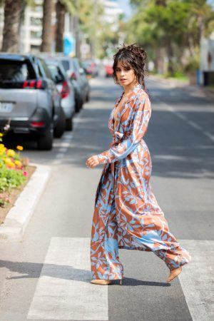 Camila Cabello in Floral Pants and Belted Coat in Cannes, France 2019/06/18 28