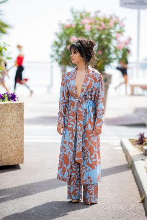 Camila Cabello in Floral Pants and Belted Coat in Cannes, France 2019/06/18 31