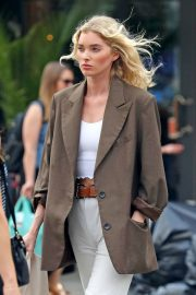 Elsa Hosk in Brown Coat Out for a Stylish Stroll in New York 2019/06/26 8