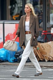 Elsa Hosk in Brown Coat Out for a Stylish Stroll in New York 2019/06/26 11