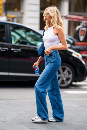 Elsa Hosk in White Tank Top and Blue Jeans in New York City 2019/06/06 2