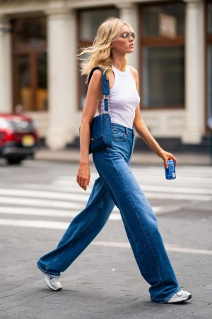 Elsa Hosk in White Tank Top and Blue Jeans in New York City 2019/06/06 3