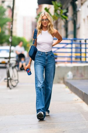 Elsa Hosk in White Tank Top and Blue Jeans in New York City 2019/06/06 5