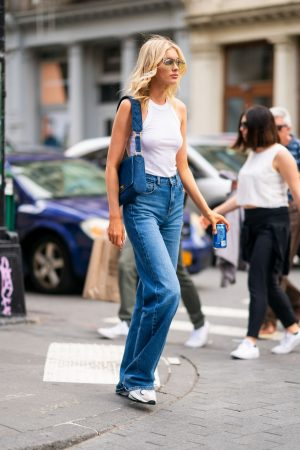 Elsa Hosk in White Tank Top and Blue Jeans in New York City 2019/06/06 6
