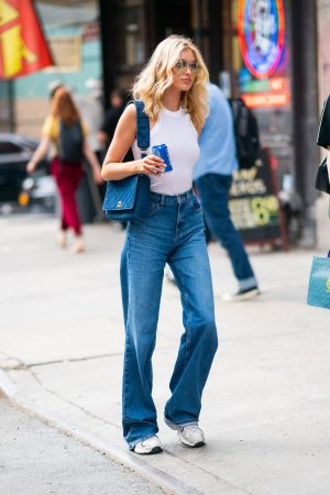 Elsa Hosk in White Tank Top and Blue Jeans in New York City 2019/06/06 7