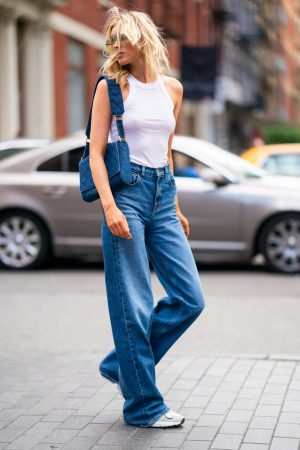 Elsa Hosk in White Tank Top and Blue Jeans in New York City 2019/06/06 8