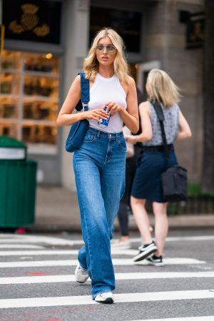 Elsa Hosk in White Tank Top and Blue Jeans in New York City 2019/06/06 9