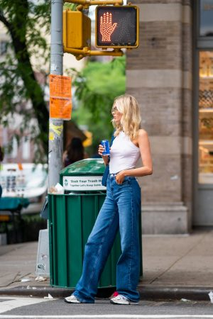 Elsa Hosk in White Tank Top and Blue Jeans in New York City 2019/06/06 10
