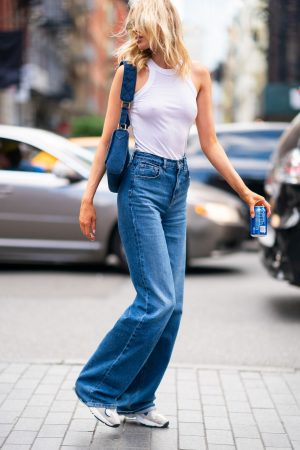 Elsa Hosk in White Tank Top and Blue Jeans in New York City 2019/06/06 11