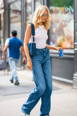 Elsa Hosk in White Tank Top and Blue Jeans in New York City 2019/06/06 12