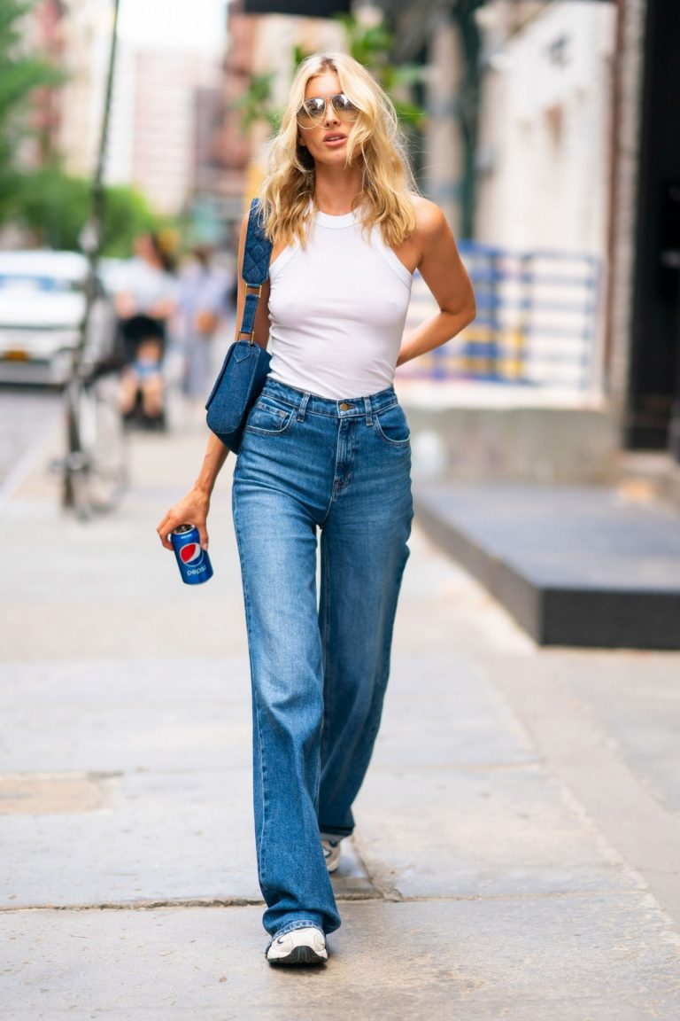 Elsa Hosk in White Tank Top and Blue Jeans in New York City 2019/06/06 13