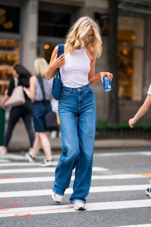 Elsa Hosk in White Tank Top and Blue Jeans in New York City 2019/06/06 14