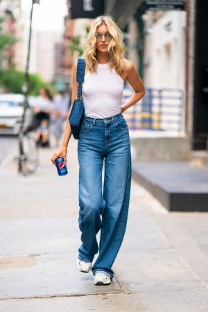 Elsa Hosk in White Tank Top and Blue Jeans in New York City 2019/06/06 15