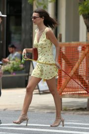 Emily Ratajkowski in a Yellow Short Dress in New York City 2019/06/22 11