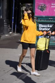 Emily Ratajkowski in Yellow Hoodies and Shorts Out in New York 2019/06/23 1