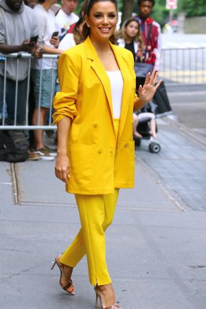 "Eva Longoria in Yellow Suit Outside ""View"" in New York City 2019/06/17 1"