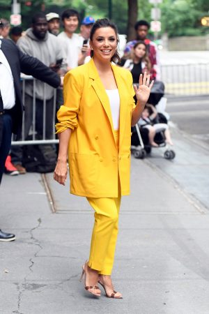 "Eva Longoria in Yellow Suit Outside ""View"" in New York City 2019/06/17 8"