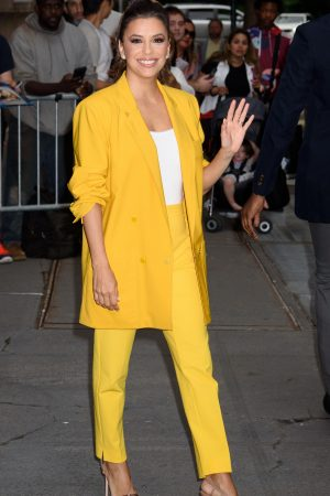 "Eva Longoria in Yellow Suit Outside ""View"" in New York City 2019/06/17 9"